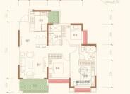 B户型建筑面积约102.4㎡三室两厅两卫