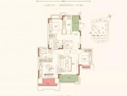 B户型三室两厅两卫建筑面积约113.38㎡