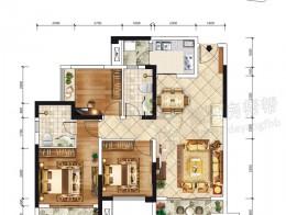 E-3户型建面约106.47-104.77三室两厅双卫