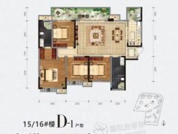 D-1户型建面约163㎡四室两厅两卫