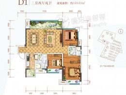 D1建筑面积约123.01㎡三房两厅两卫