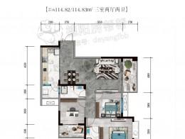 A3建筑面积约114㎡三室两厅两卫