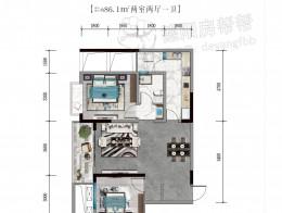 A4建筑面积约86.1㎡两室两厅一卫