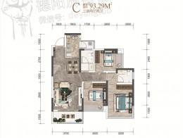 C户型建面约93.29㎡三室两厅两卫