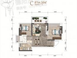 C户型建面约64.2㎡两室两厅一卫