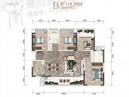 B户型建面约119.29㎡四室两厅两卫