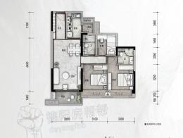建面约98㎡三房两厅两卫