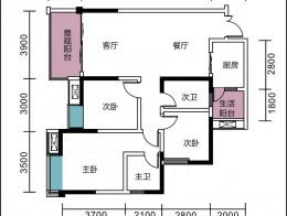 7号楼D1户型三室两厅两卫约108.96㎡