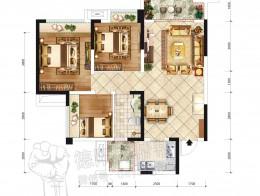 E1户型建面约89.1㎡ 三室两厅单卫